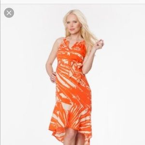 Creamsicle color maternity dress